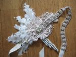 Peacock Feathers and Crystal Flapper 1920's Art Deco Headband Headpiece - Gatsby Downton Abbey